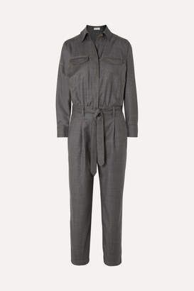 Brunello Cucinelli Bead-embellished Belted Wool Jumpsuit - Charcoal