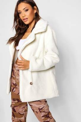 boohoo Double Breasted Teddy Faux Fur Coat