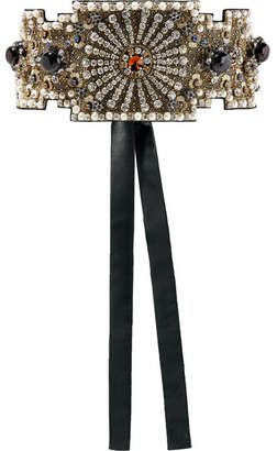 Dolce & Gabbana Embellished Silk-satin Waist Belt - Black
