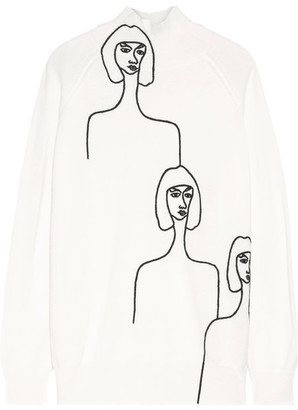 Victoria, Victoria Beckham - Embroidered Wool Turtleneck Sweater - Cream