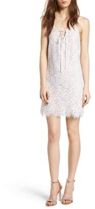 Speechless Lace-Up Lace Minidress