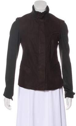 Donna Karan Knit-Paneled Leather Jacket