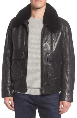Andrew Marc Leather Jacket w/ Genuine Lamb Shearling Collar