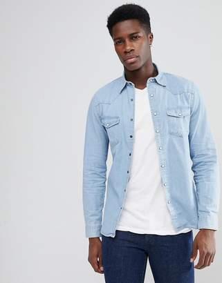 MANGO Man Western Denim Shirt In Light Wash