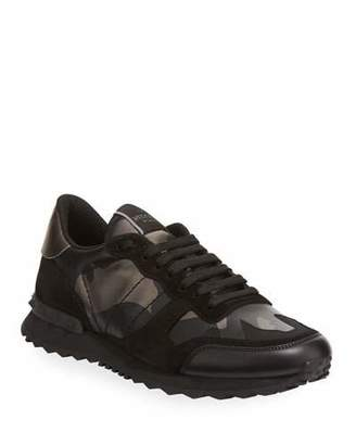 Valentino Garavani Men's Rockrunner Camo Leather Sneakers