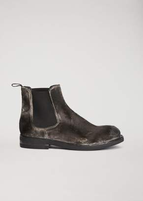 Emporio Armani Smart Brushed Velvet Beatle Boots