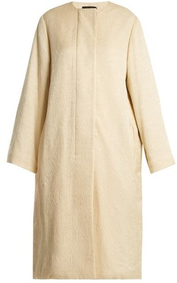The Row Nettle Collarless Silk Cloque Coat - Womens - Mid Beige