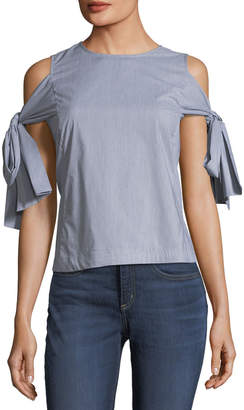 Marled By Reunited Tie-Sleeve Button-Back Blouse