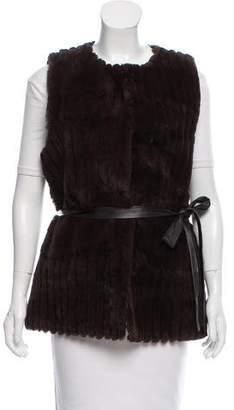 Ellen Tracy Belted Fur Vest