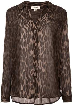 L'Agence leopard print fitted blouse