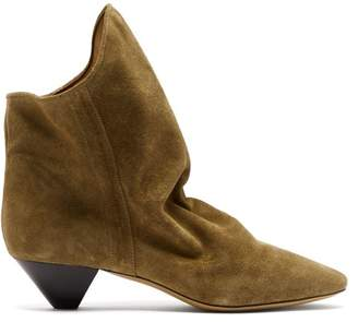 Isabel Marant Doey Suede Ankle Boots - Womens - Khaki