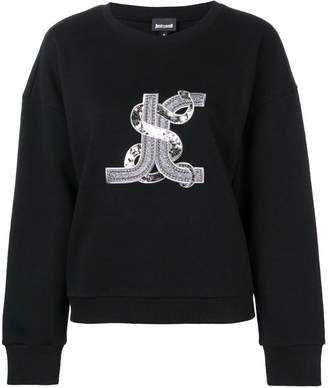 Just Cavalli logo snake embroidered sweatshirt