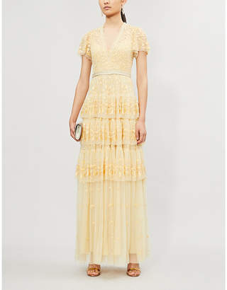 NEEDLE AND THREAD Angelica floral-embroidered short-sleeved tulle maxi dress