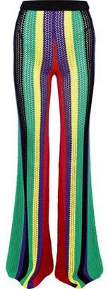 Balmain Striped Crochet-Knit Flared Pants