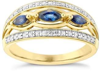 Marquis H Samuel 9ct Yellow Gold Diamond & Sapphire Eternity Ring