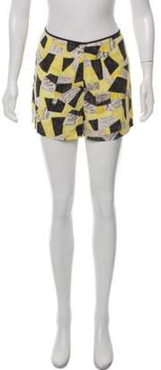 Equipment Silk Abstract Print Shorts Yellow Silk Abstract Print Shorts