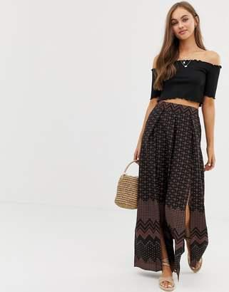 Brave Soul liana wide leg trousers in border print