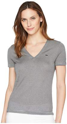 Lacoste Short Sleeve Classic Ottoman Jersey Milleraies Stripes V-Neck T-Shirt Women's T Shirt