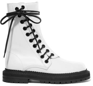 Burberry - Lace-up Leather Ankle Boots - White