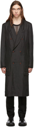 Comme des Garcons Black Twill Double-Breasted Coat