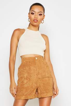 boohoo Chunky Cord Turn up Shorts