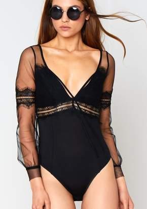 38d96ea38a Missyempire Seren Black Long Sleeve Mesh Bodysuit