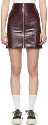 McQ Burgundy Patent Zip Miniskirt