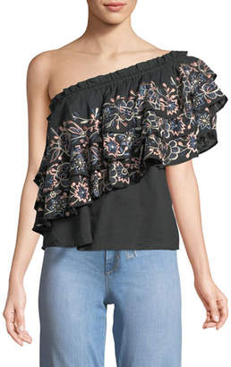 MISA Los Angeles Paola Floral Embroidery One-Shoulder Top