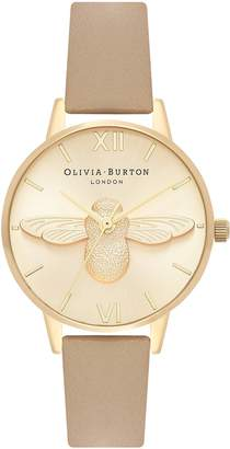 Olivia Burton Bee Leather Strap Watch, 30mm