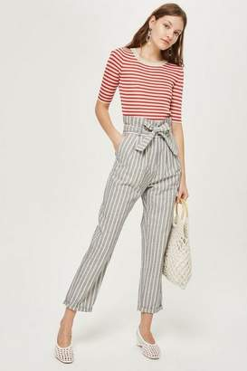 Topshop Belted striped tapered leg trousers