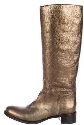 Prada Metallic Knee-High Boots