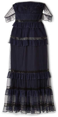 Jonathan Simkhai Off-the-shoulder Ruffled Tulle Midi Dress - Midnight blue
