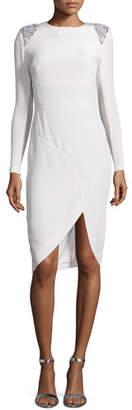 Rachel Gilbert Starla Long-Sleeve Faille Cocktail Dress w/Embellished Epaulets