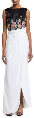 Talbot Runhof Floral-Embroidered Two-Tone Draped Gown