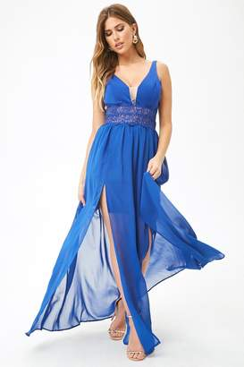 Forever 21 Lace Panel Chiffon Gown