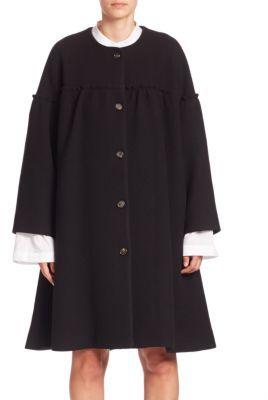 Chloé Chloe Wool Flounce Ruffle Coat