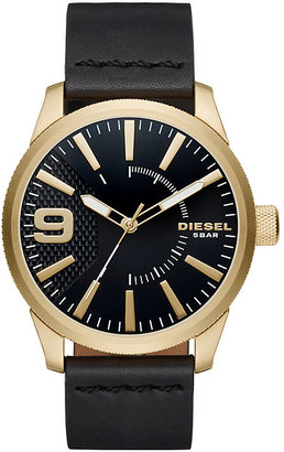 Diesel Gold-Plated Black Dial Black Leather Strap Watch