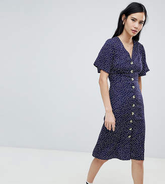 Wednesday's Girl button front midi tea dress in spot