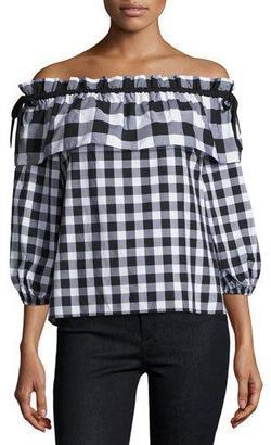 Parker Jenay Gingham Off-the-Shoulder Blouse, Black/White $198 thestylecure.com