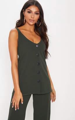 PrettyLittleThing Khaki Longline Button Detail Cami Top