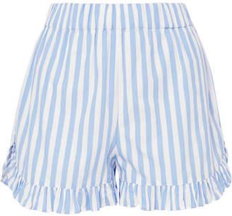 Ganni Swimton Ruffled Striped Cotton Shorts - Sky blue