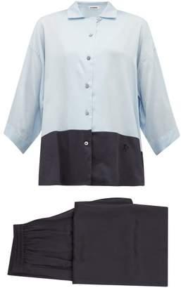 Jil Sander Colour Block Satin Pyjamas - Womens - Navy Multi