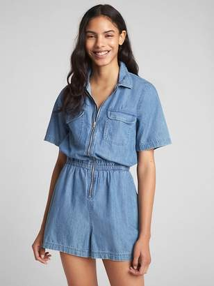 Gap Short Sleeve Zip Denim Romper