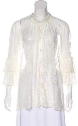 Ghost Lace Button-Up Blouse