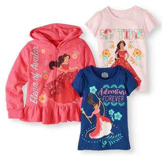 Elena of Avalor Little Girls' Hoodie and 2-Pack T-Shirt Outfit Set