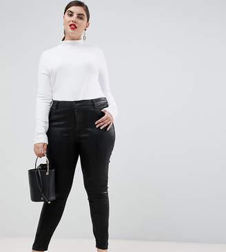 Asos DESIGN Curve 'Sculpt me' premium jeans in black coated