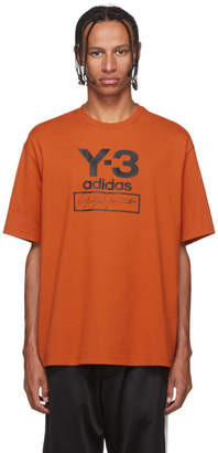 Y-3 Y 3 Orange Stacked Logo T-Shirt