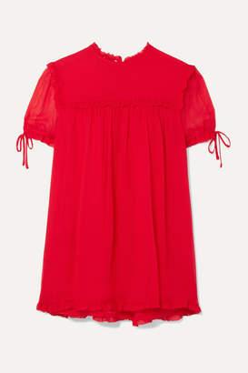 Miu Miu Ruffled Silk-crepon Blouse - Tomato red