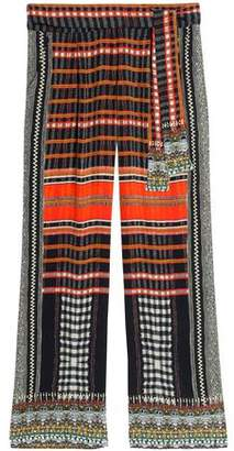 Camilla Tie-Front Crystal-Embellished Printed Silk Wide-Leg Pants
