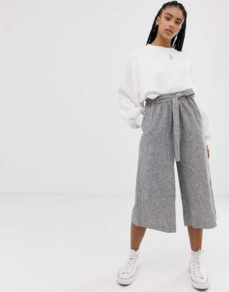 Pull&Bear Tailored Wide Leg Trouser With Tie Waist